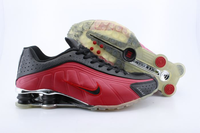 Real Shox R4 Shoes Black Red Swoosh