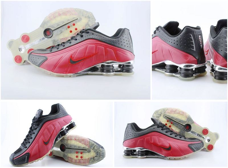 Men's Nike Shox R4 Black Red Transparent Sole Running Shoes