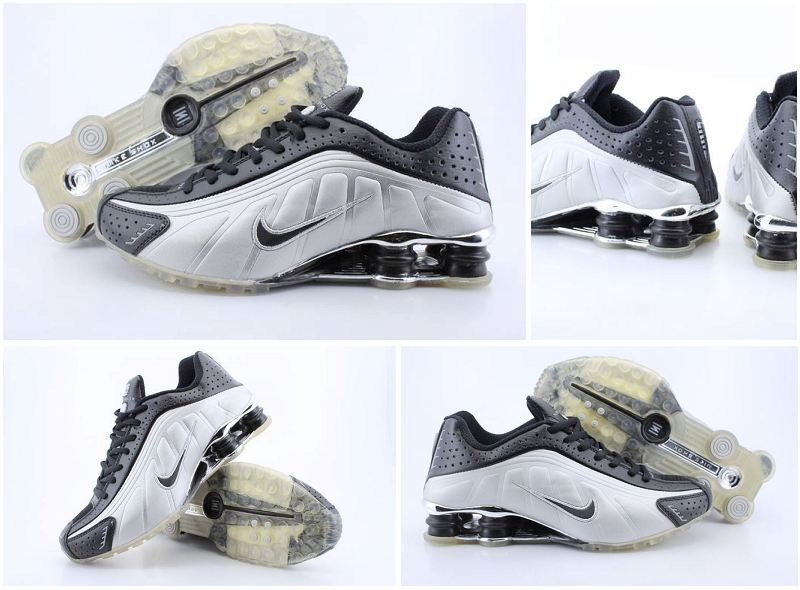 Men's Nike Shox R4 Black Silver Transparent Sole Running Shoes