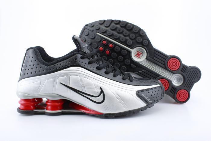 Nike Shox R4 Shoes Black White Red Air Cushion
