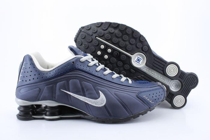 Nike Shox R4 Shoes Blue Grey Swoosh