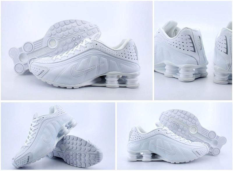 Women Nike Shox R4 All White Shoes