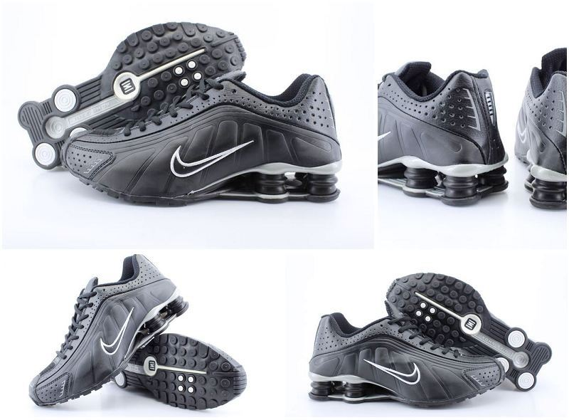 Women Nike Shox R4 Black Logo Shoes