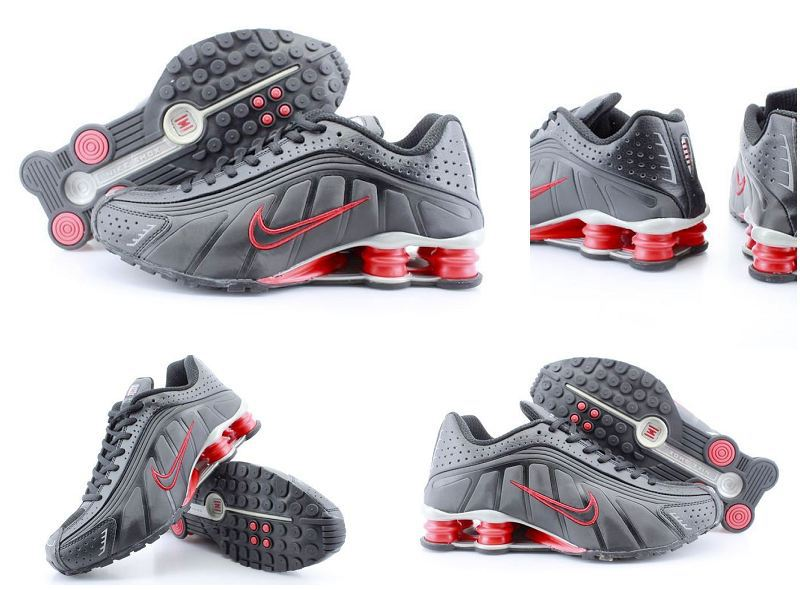 Women Nike Shox R4 Black Red Logo Shoes