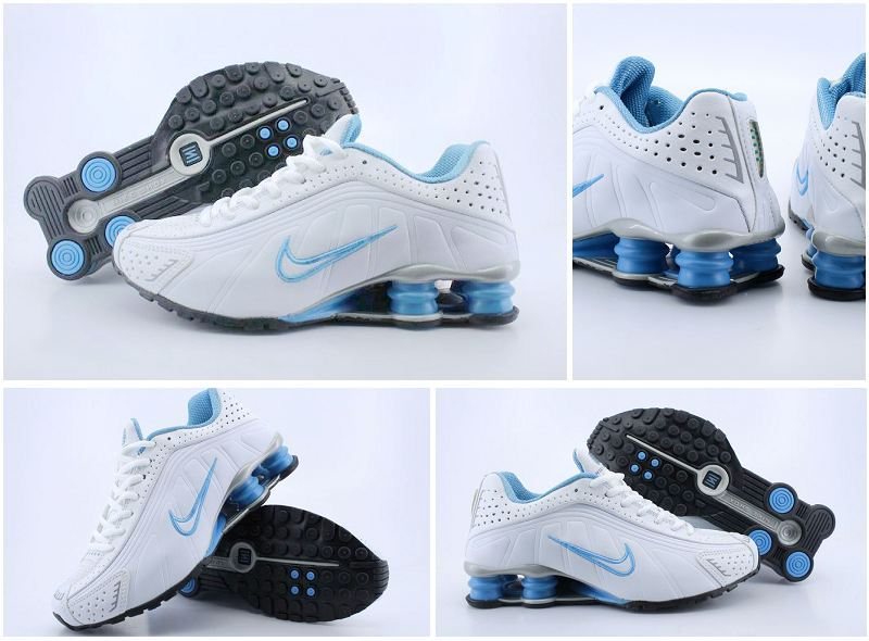 Women Nike Shox R4 White Blue Shoes
