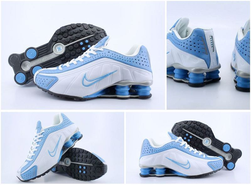 Women Nike Shox R4 White Blue Logo Shoes
