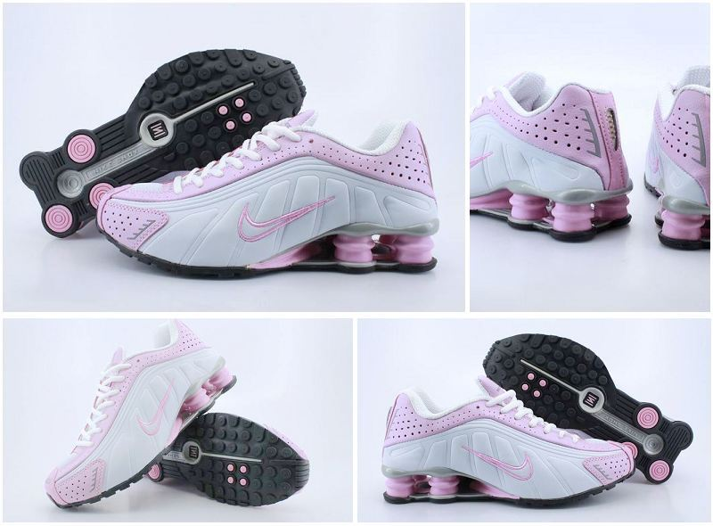 Women Nike Shox R4 White Pink Line Shoes