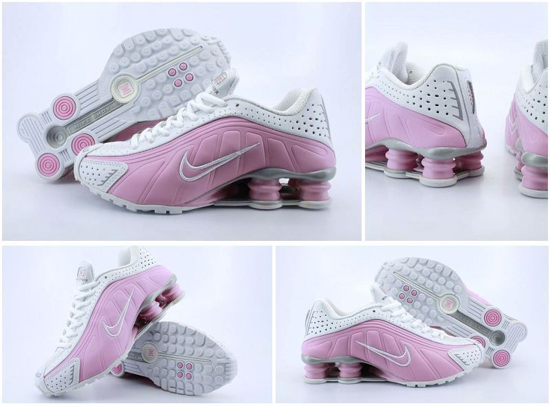 Women Nike Shox R4 White Pink Logo Shoes