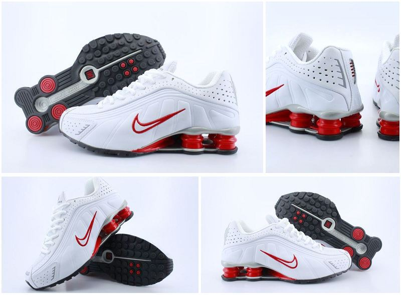 Women Nike Shox R4 White Red Logo Shoes