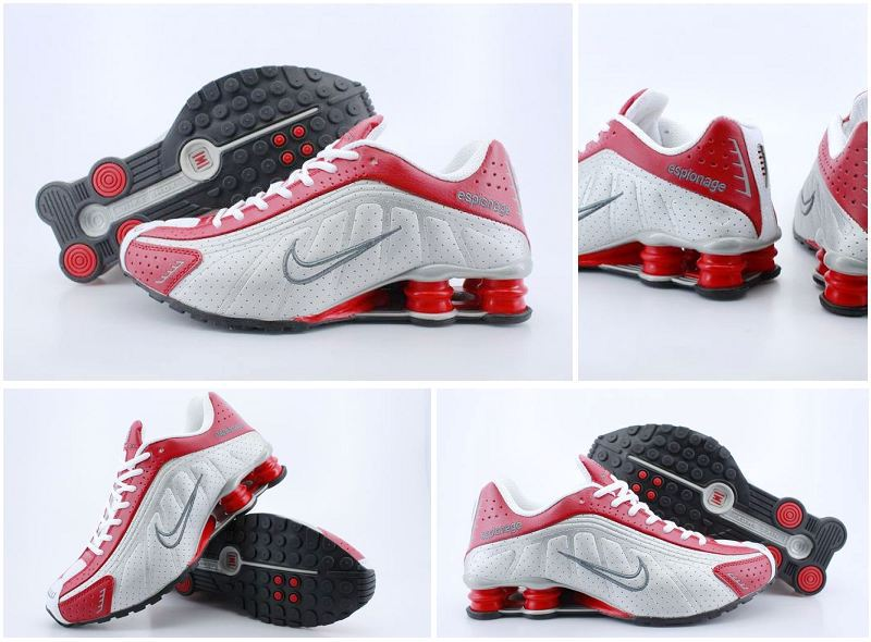 Women Nike Shox R4 White Red White Logo Shoes