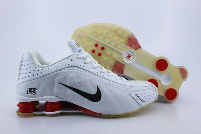 Nike Shox R4 Shoes White Red Black Swoosh
