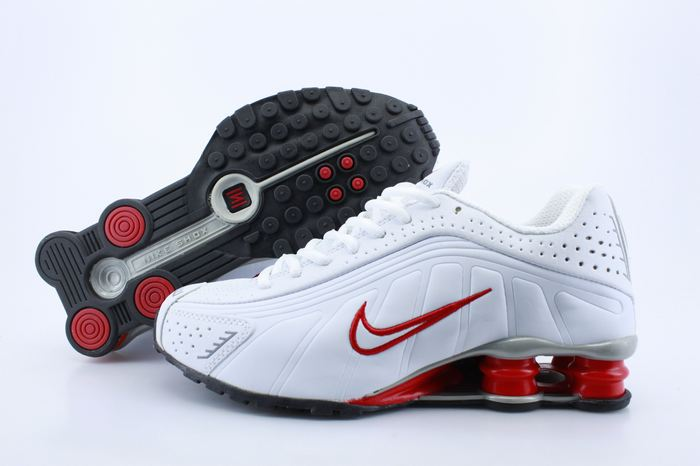Nike Shox R4 Shoes White Red Swoosh