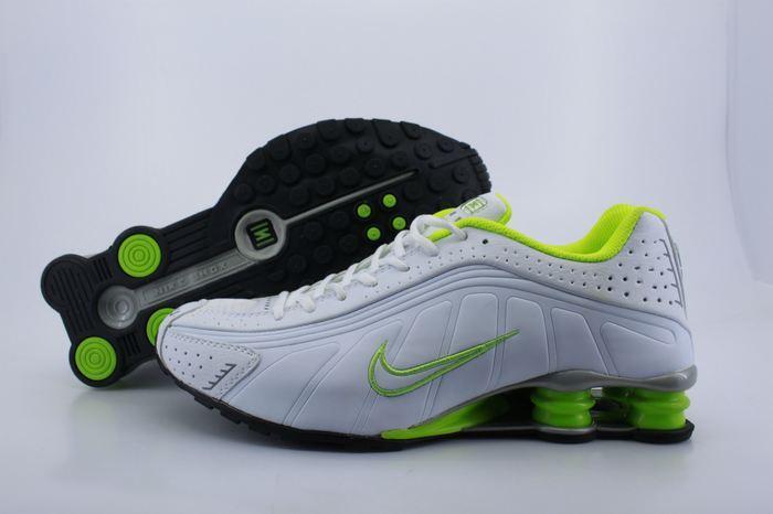 Men's Nike Shox R4 White Volt Running Shoes