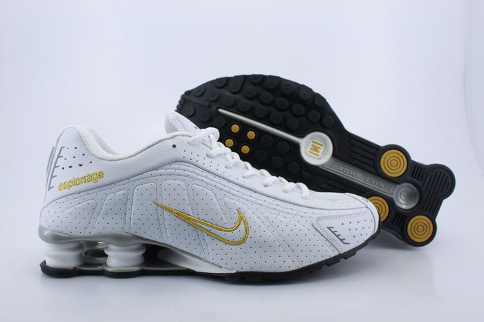 Nike Shox R4 Shoes White Yellow Swoosh