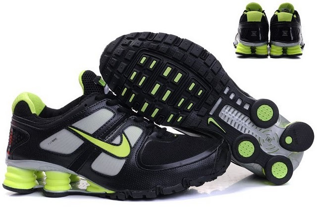 Nike Shox R6 Black Green Grey Running Shoes