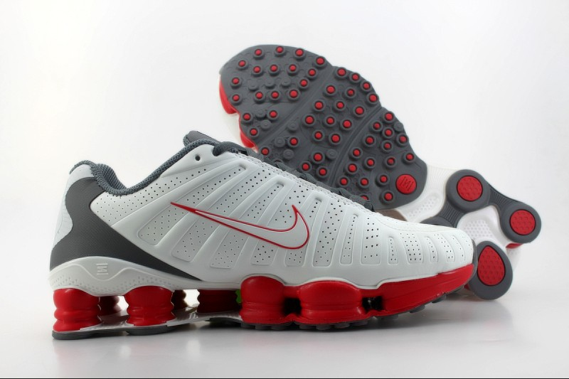 Nike Shox TLX Shoes White Grey Red