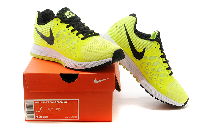 Nike Zoom Pegasus 31 Yellow Black Running Shoes For Women