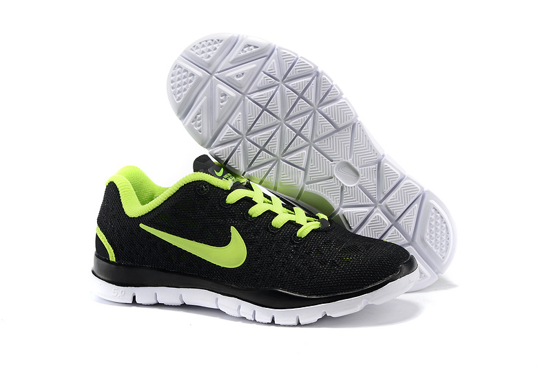 Child Nike Free Run 5.0 Black Fluorscent Green Shoes