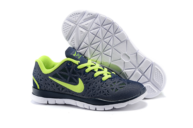 Child Nike Free Run 5.0 Blue Fluorscent Green Shoes