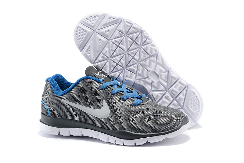 Child Nike Free Run 5.0 Grey Blue Shoes