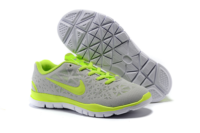 Child Nike Free Run 5.0 Grey Fluorscent Green Shoes