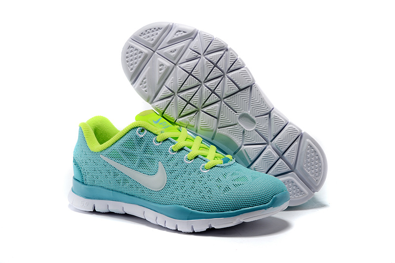 Child Nike Free Run 5.0 Sea Blue Fluorscent Green Shoes