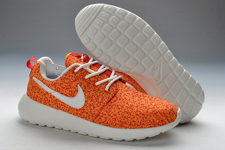 Summer Nike Roshe Run Orange White Print Running Shoes For Women