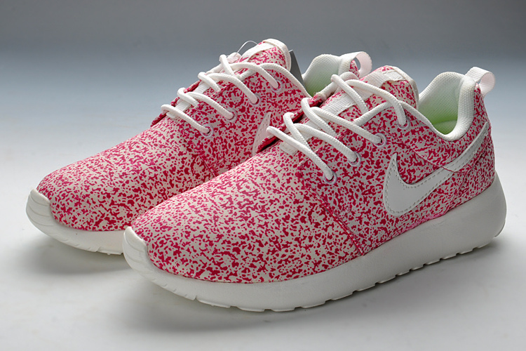 Summer Nike Roshe Run Pink White Print Running Shoes For Women