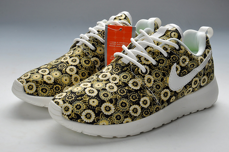 Summer Nike Roshe Run Yellow Print Running Shoes For Women