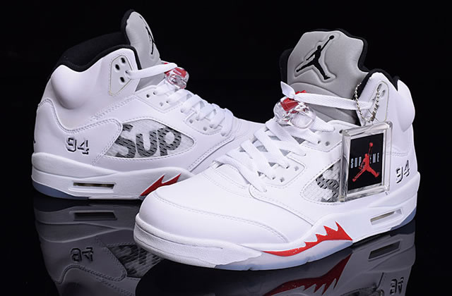 Supreme x Air Jordan 5 Sup White