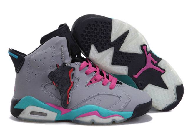 Women Air Jordan 6 Miami Vice Grey Pink