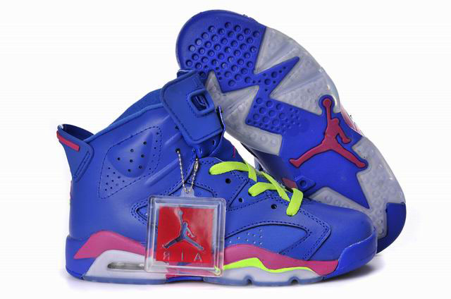 Women Air Jordan 6 Royal Blue Pink Green