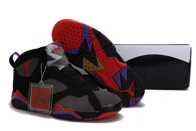Women Air Jordan 7 VII Black Charcoal Team Red