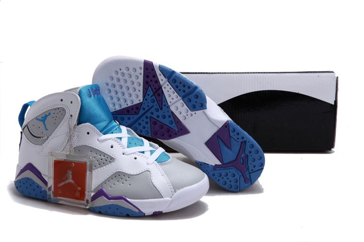 Women Air Jordan 7 VII White Pacific Blue Purple