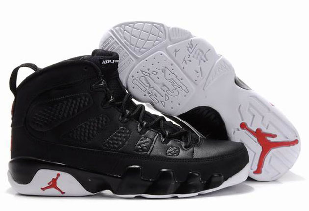 Women Air Jordan 9 Retro Black White Varsity Red