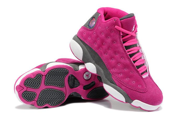 Women Air Jordans 13 Suede Pink Gray