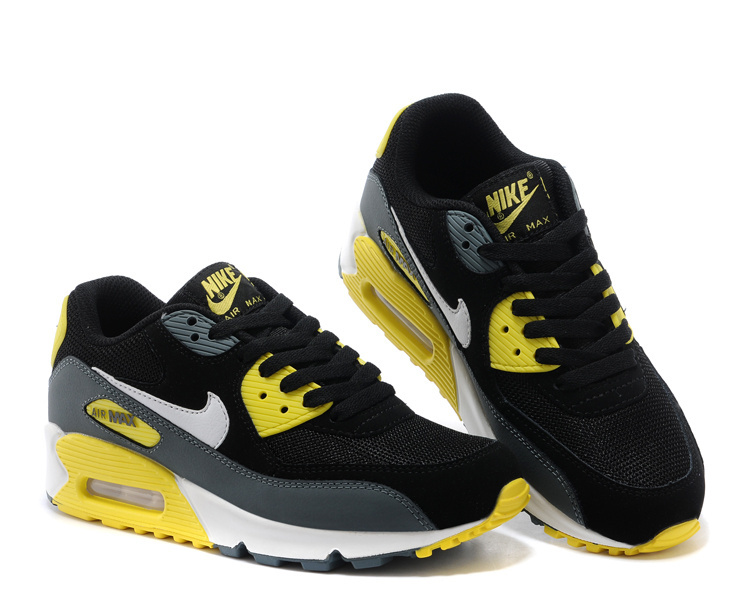 Women's Nike Air Max 90 Black Grey Yellow Shoes