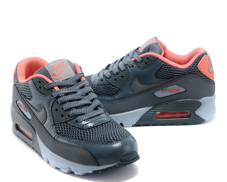 Women's Nike Air Max 90 Grey Black Orange Shoes
