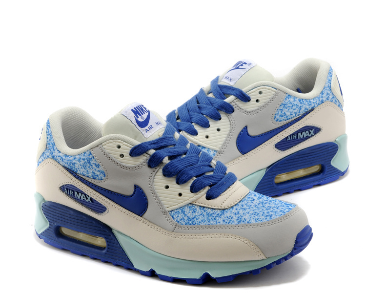 Women's Nike Air Max 90 Grey Blue Shoes