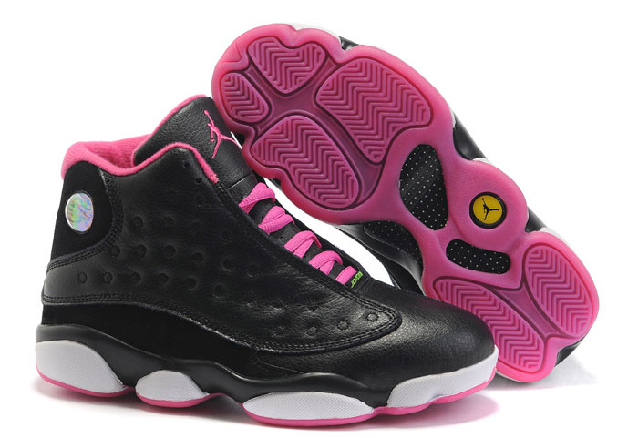 Women Jordans 13 Black Pink White