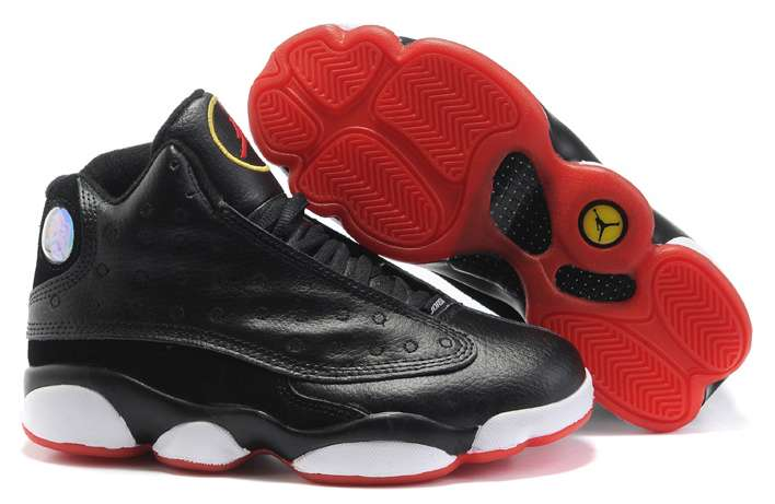 Women Jordans 13 Black True Red White