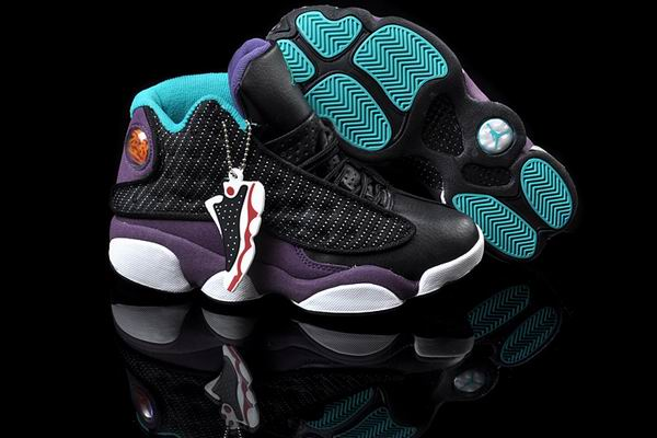 Women Jordans 13 black blue purple shoes