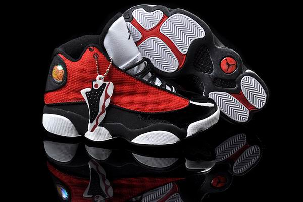 Women Jordans 13 red white black shoes