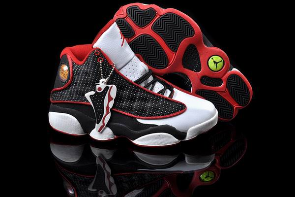 Women Jordans 13 white red black shoes