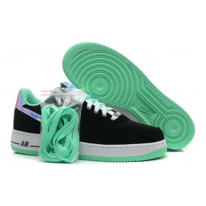 Women Nike Air Force 1 Low Black Green Shoes