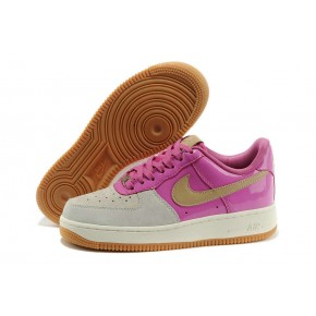 Women Nike Air Force 1 Low Pink Grey Yellow Shoes