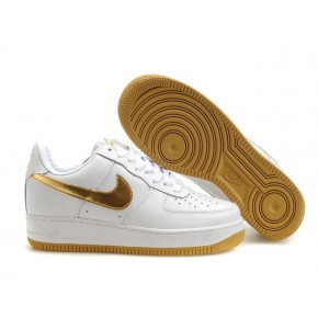 Women Nike Air Force 1 Low White Gold Shoes