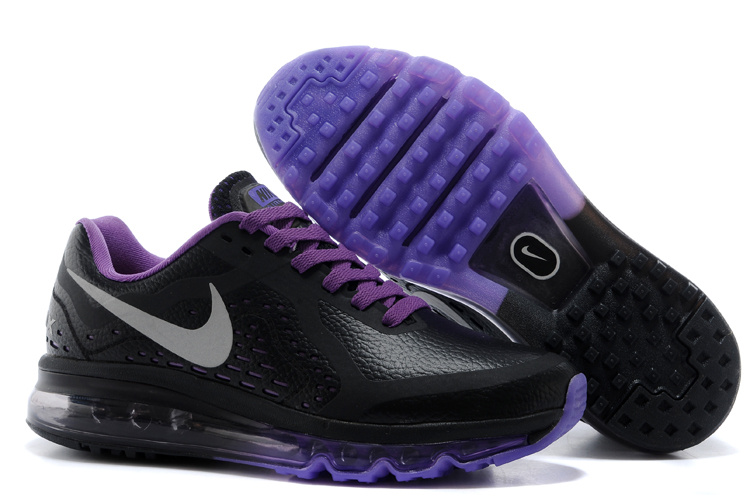 Women Nike Air Max 2014 Leather Black Purple Running Shoes