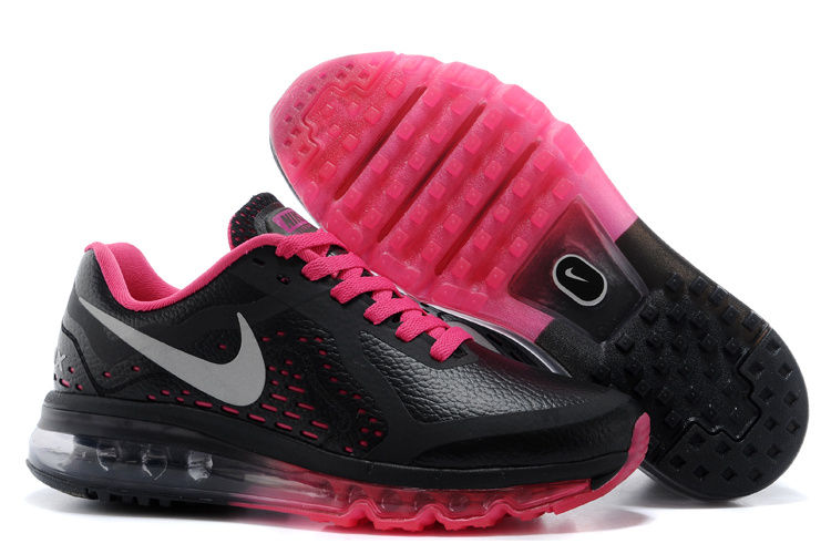 Women Nike Air Max 2014 Leather Black Red Running Shoes