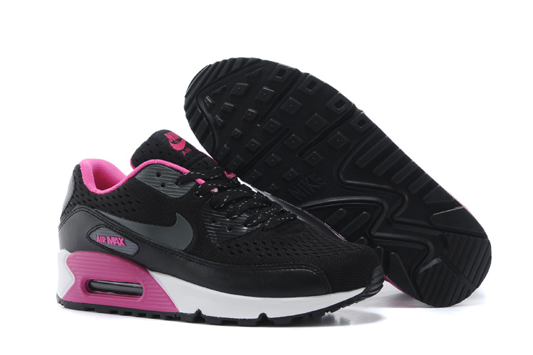 Women's Nike Air Max 90 Knit Black Purple White Shoes